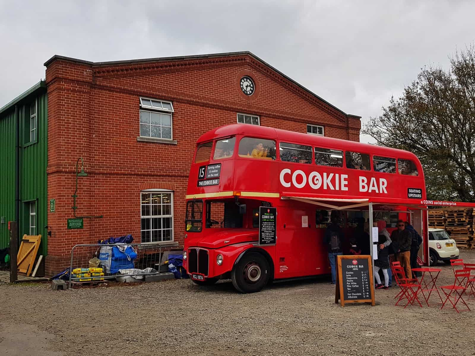 Watercress Line double decker bus cookie bar