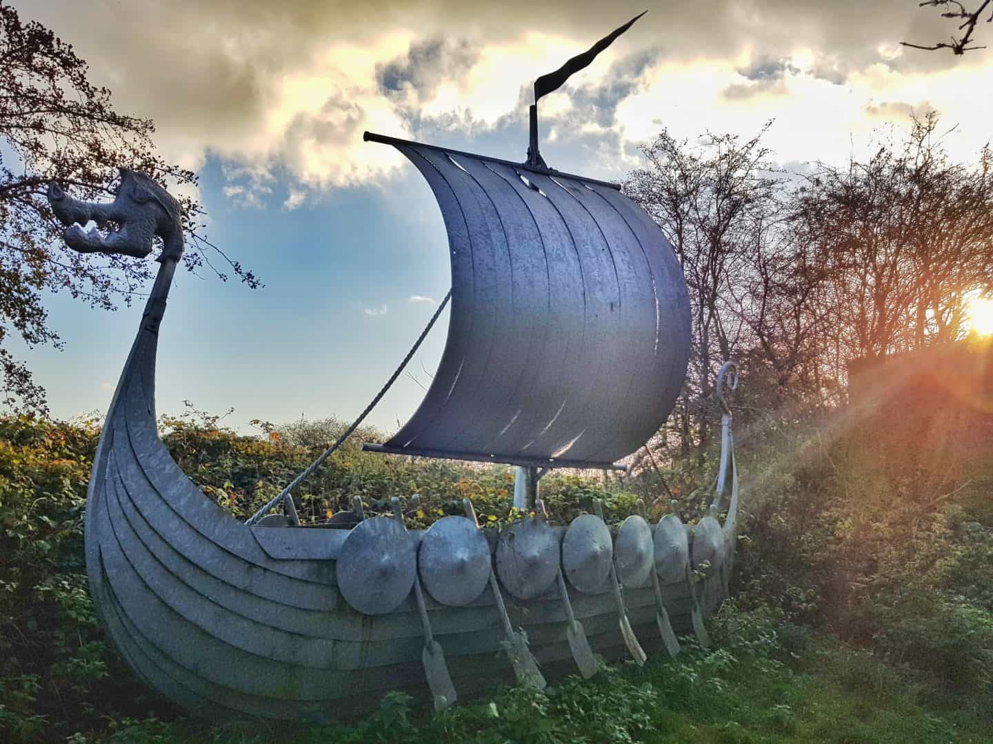 Lincolnshire Wolds Woodall Spa sculpture trail viking ship
