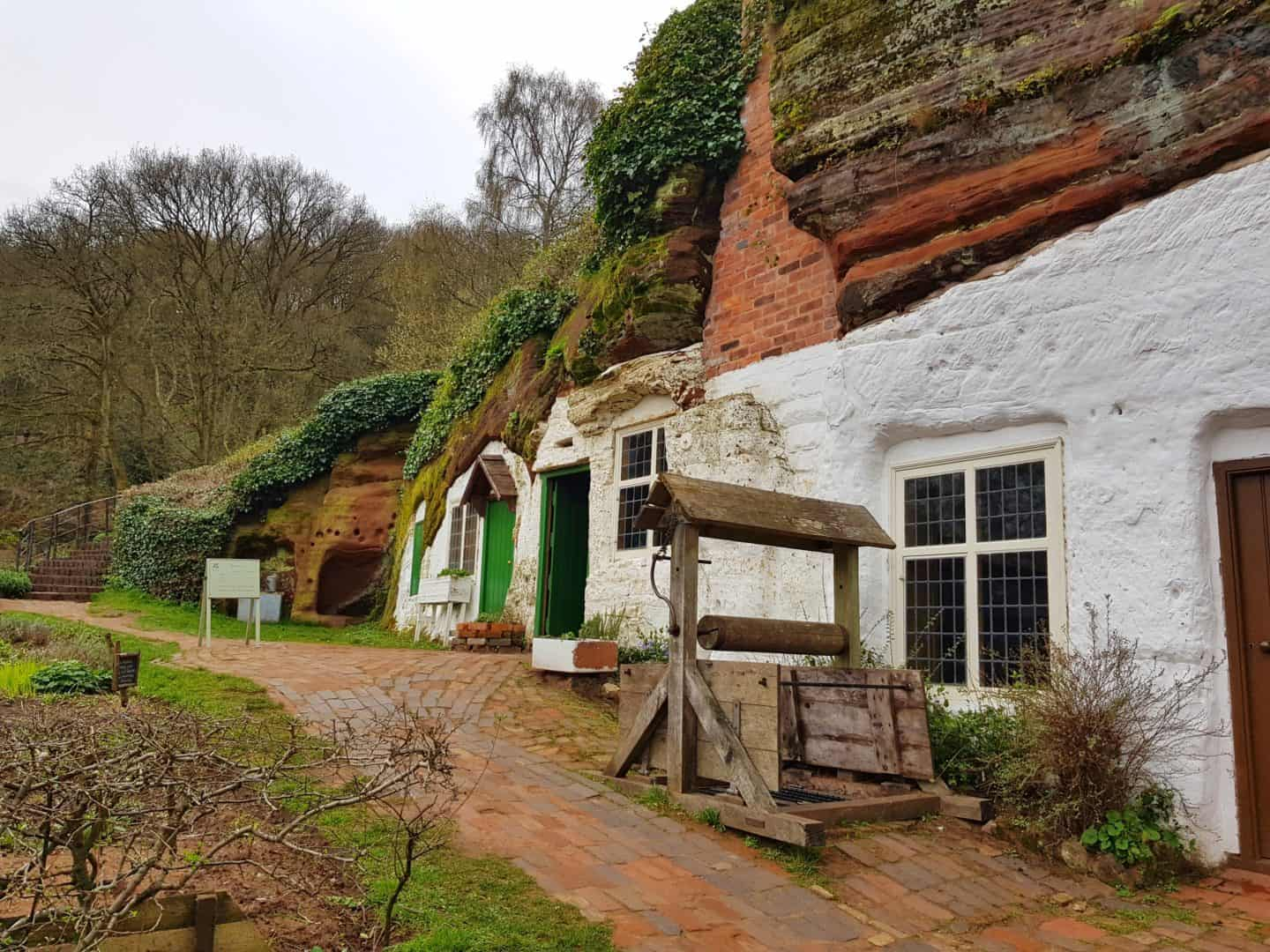 Kinver Edge and the Rock Houses National Trust West Midlands outside main entrance to houses