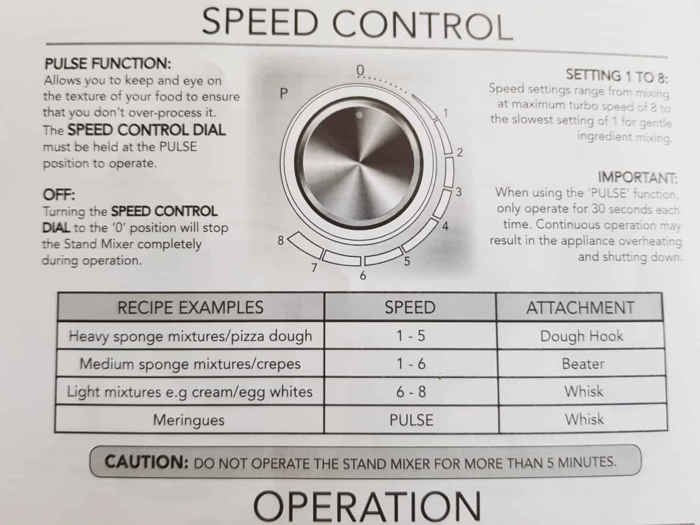 Von Shef stand mixer speed control instructions