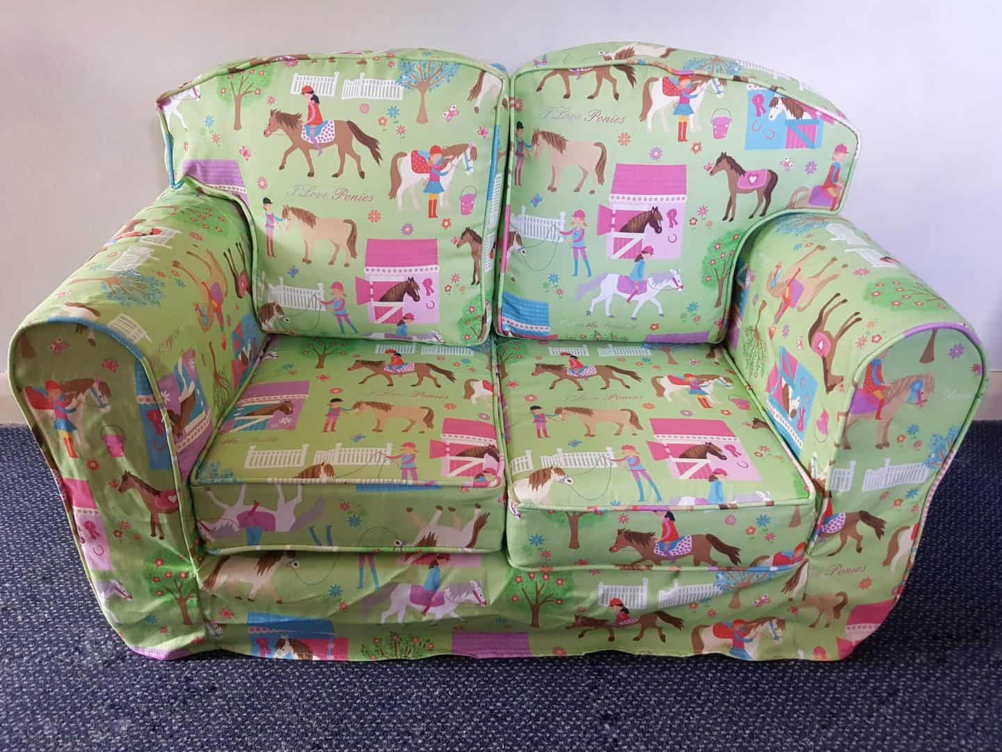 Just4Kids green loose cover sofa