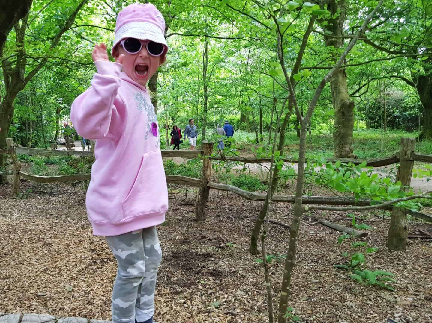 Girl waving from natural play area