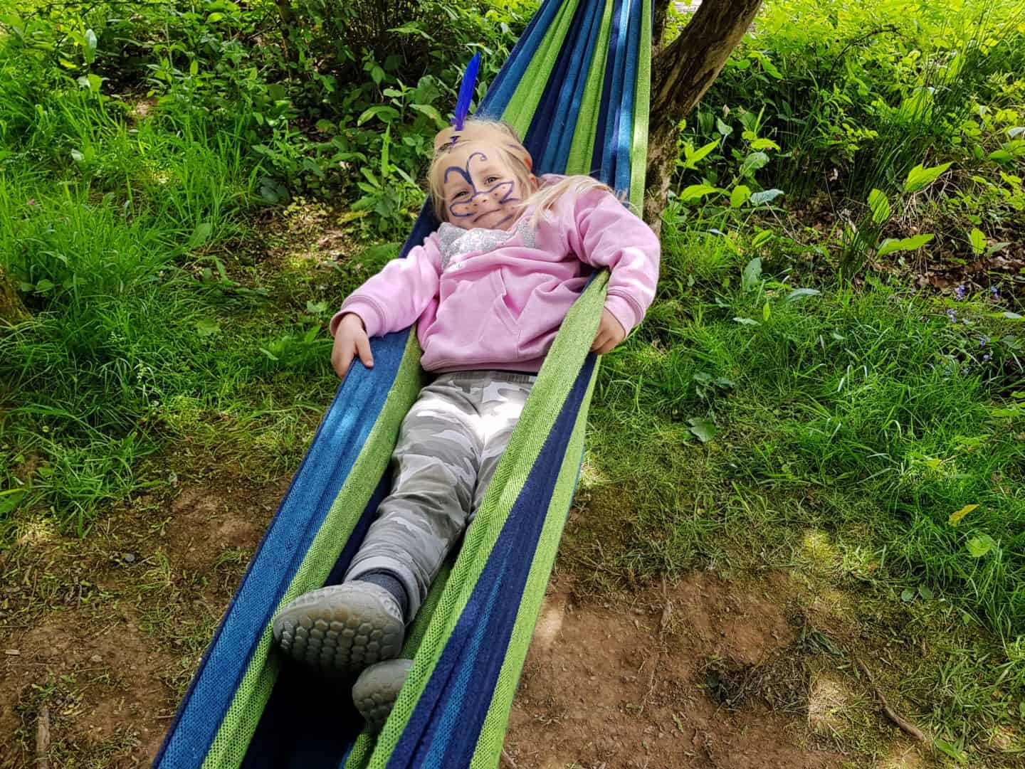 girl on hammock at Lost Gardens of Heligan