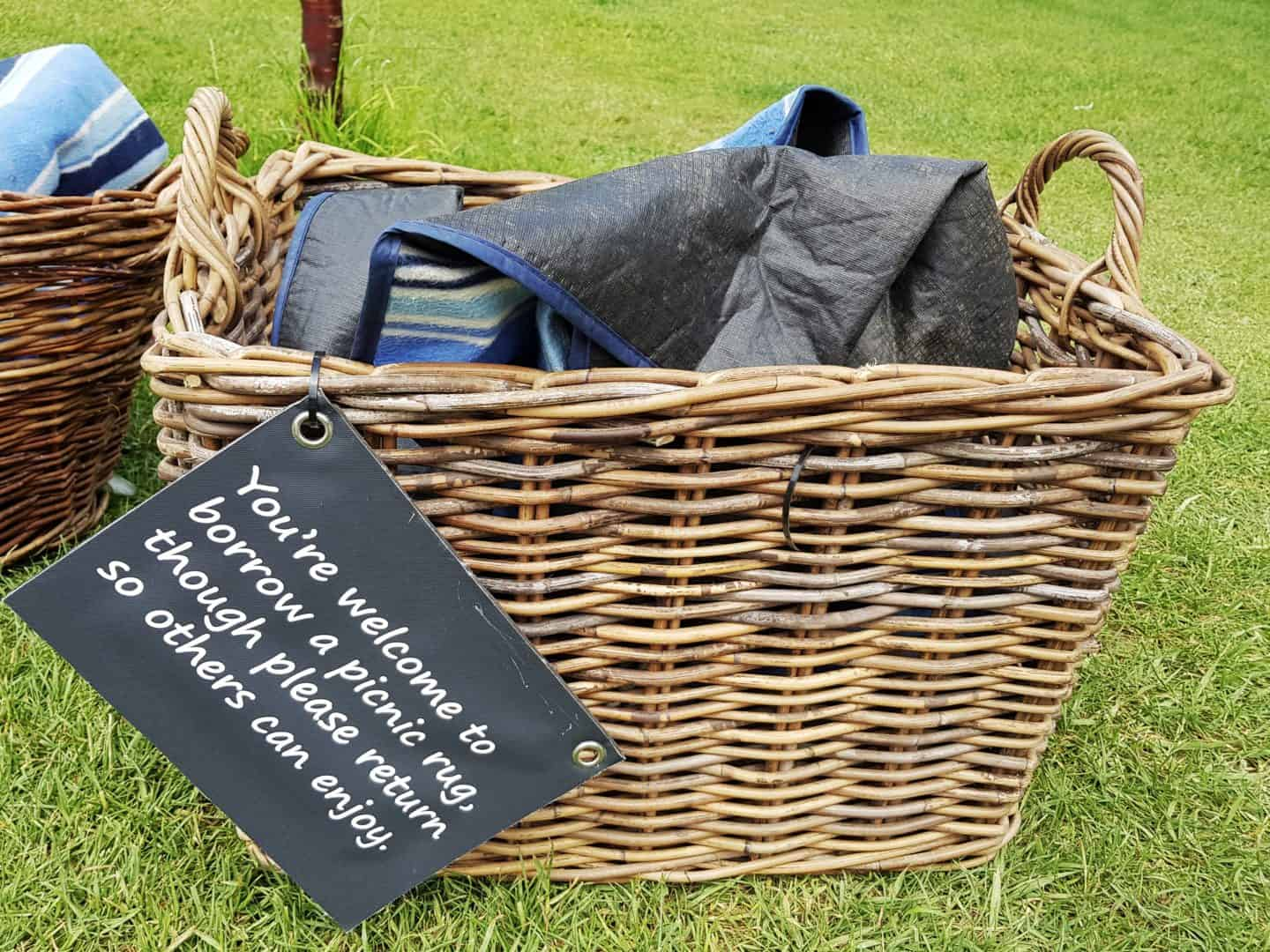 basket full of picnic blankets