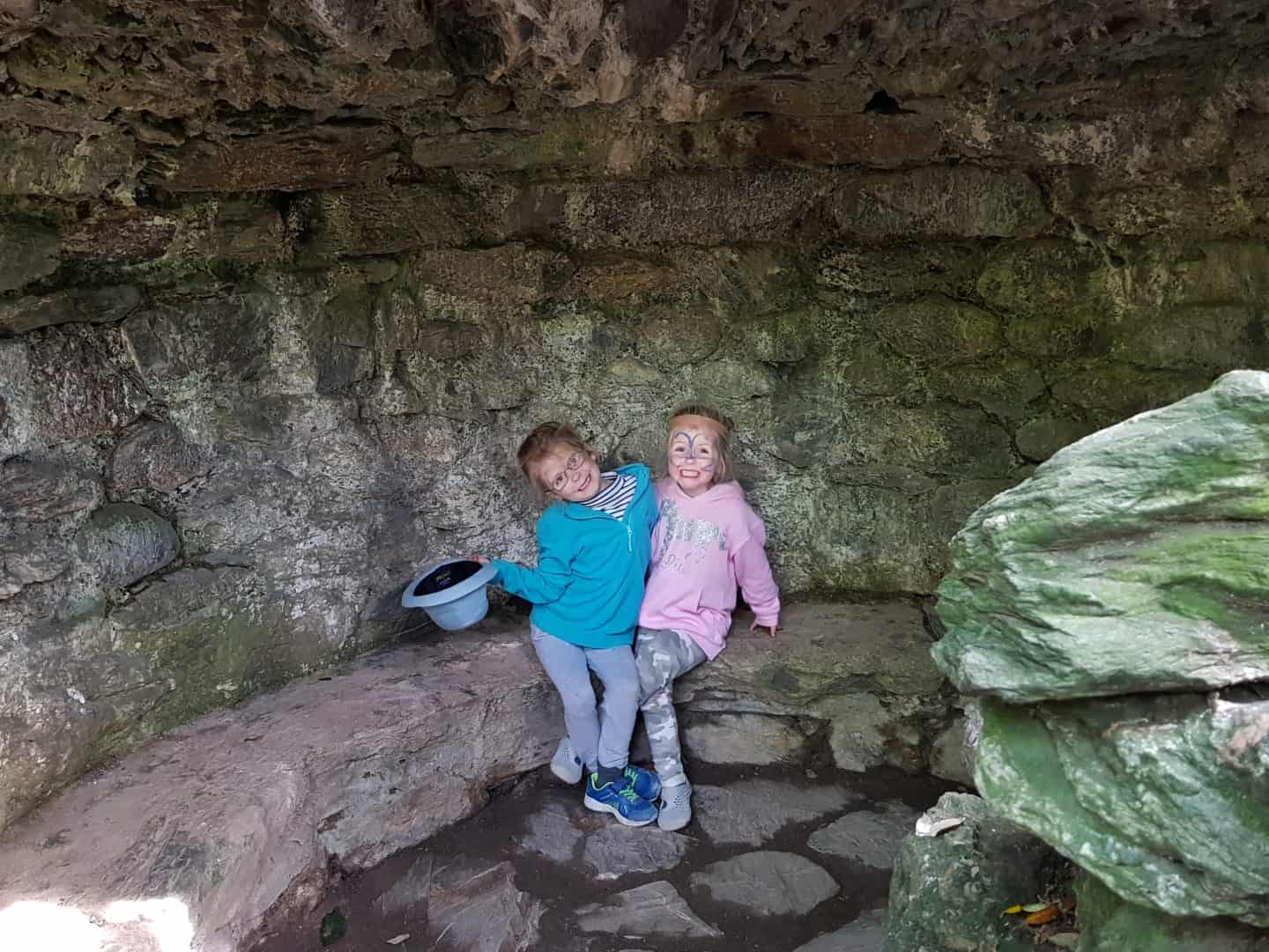 girls in cave at Lost Gardens of Heligan