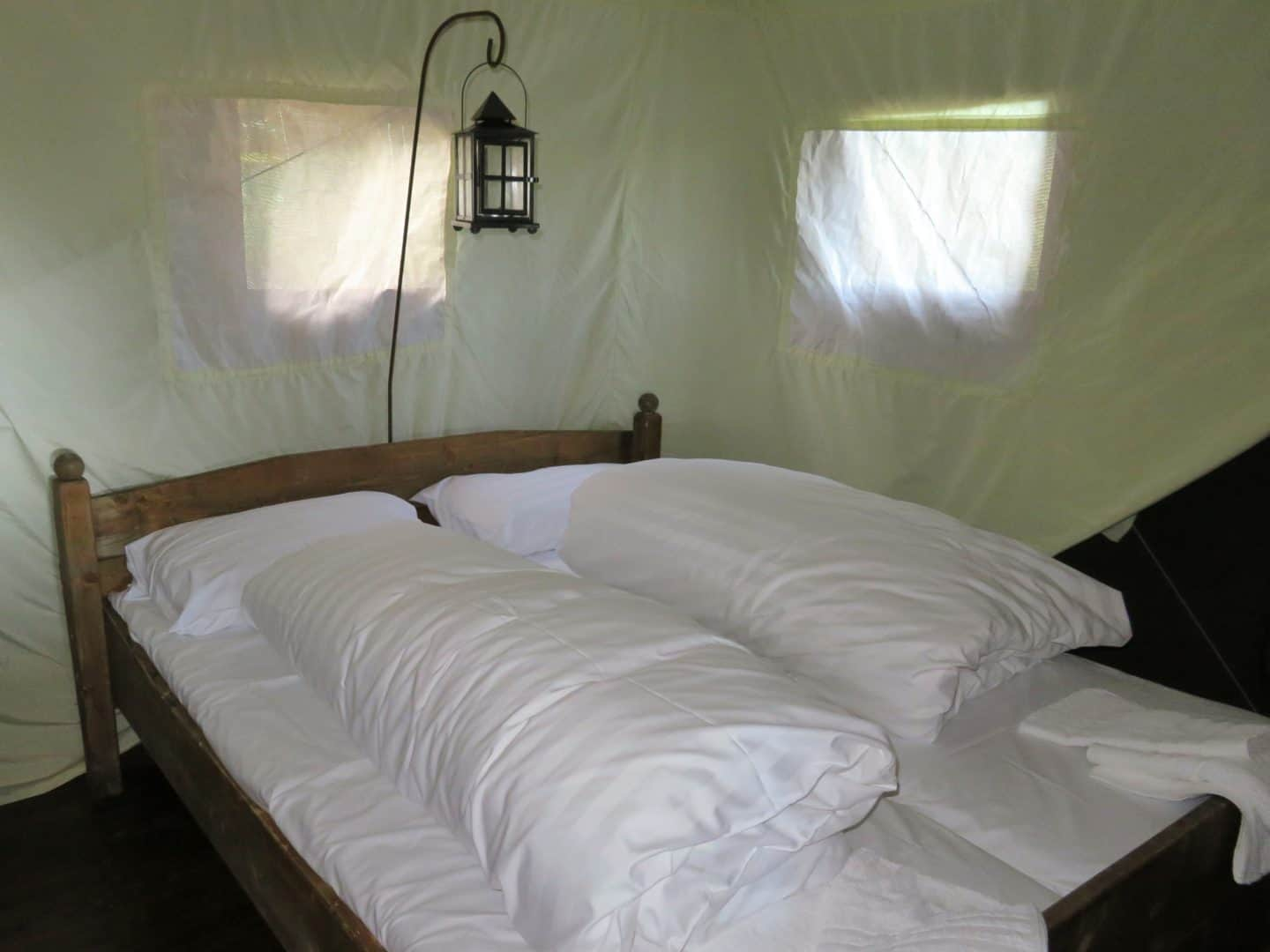 Feather Down glamping bedroom