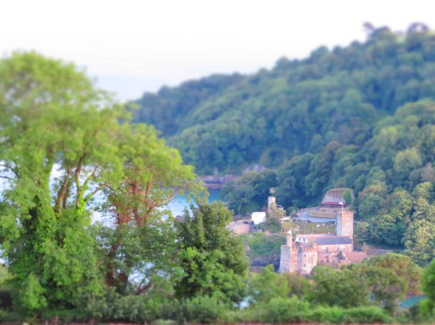 view of Dartmouth castle from Feather Down glamping