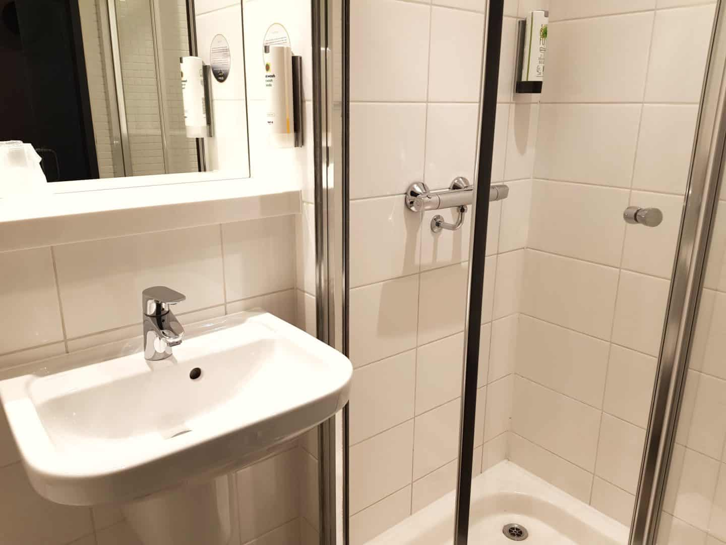 Point A Hotel sink and shower