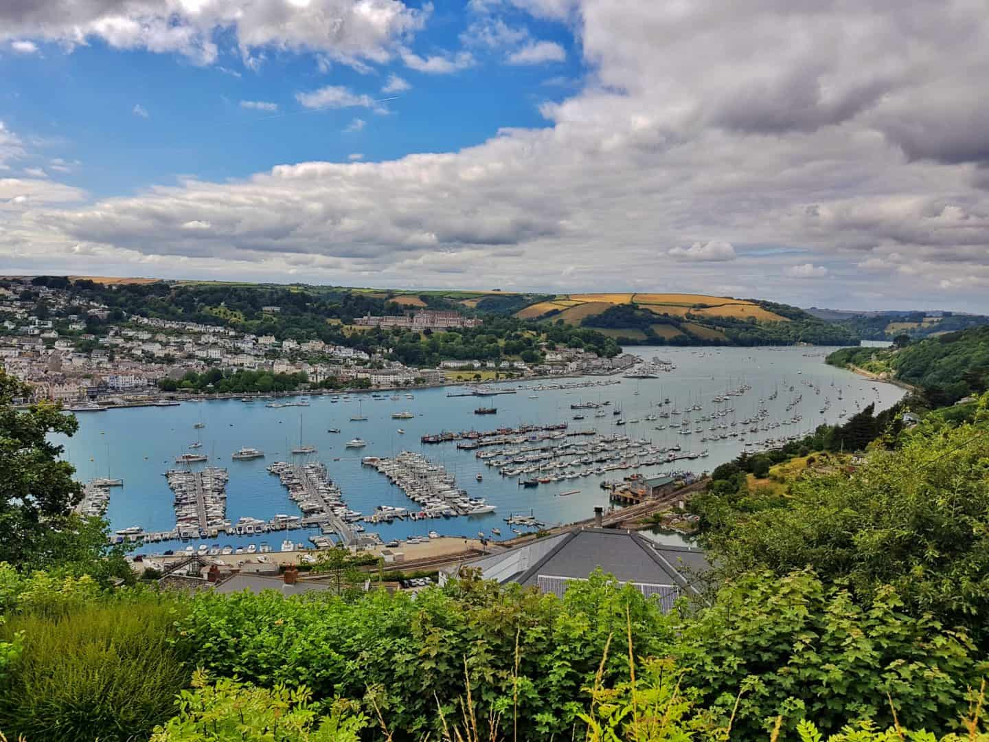 view down over Dartmouth across harbour with boats