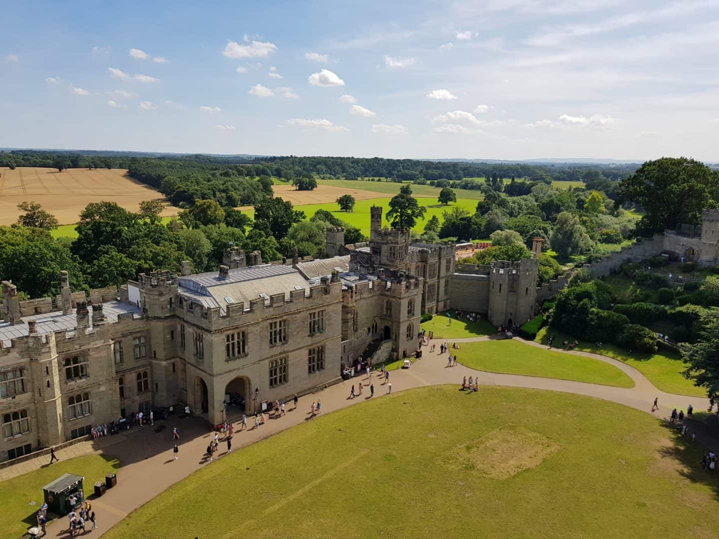 aerial view of Warwick Castle and surrounding countryside