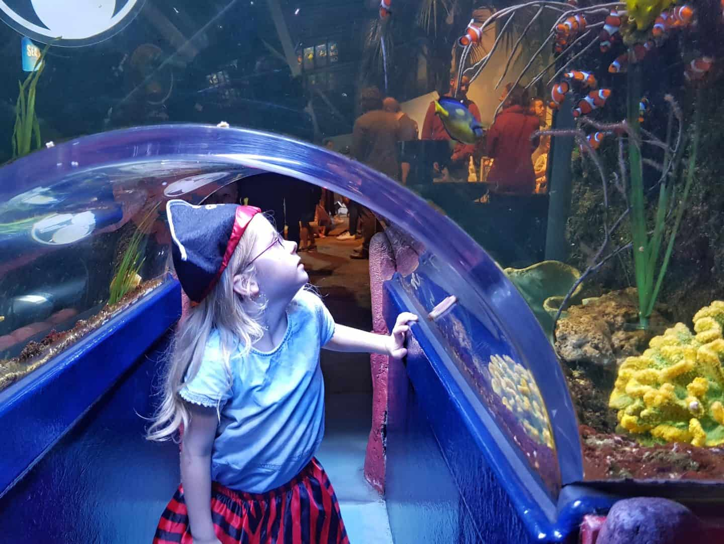 Girl in underwater tunnel at the National Sea Life Centre