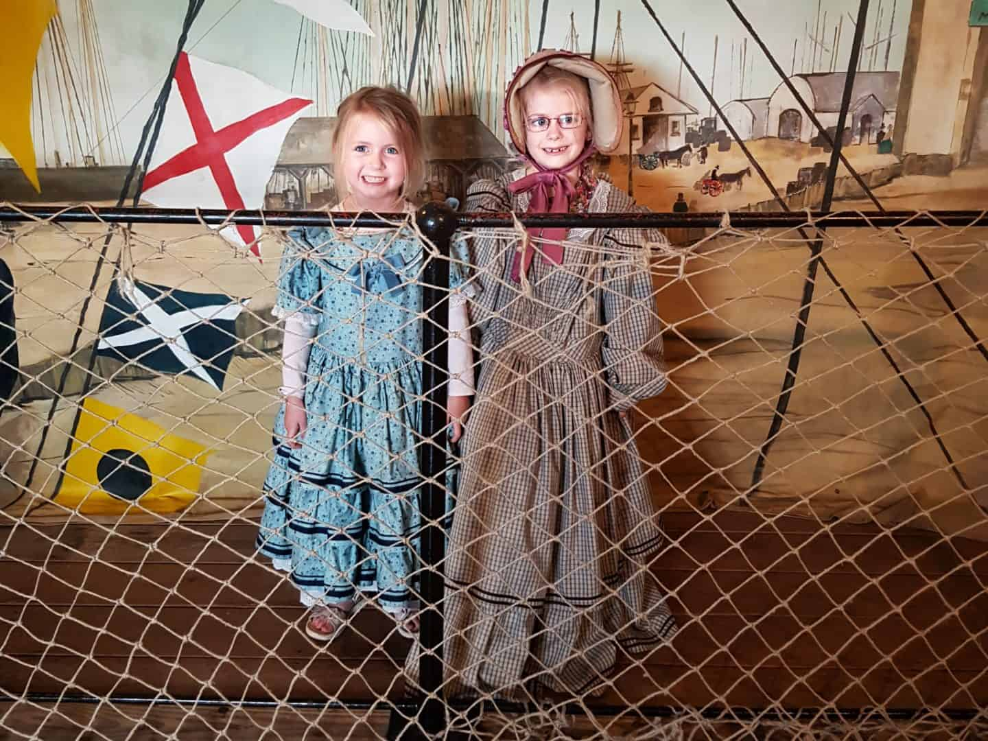 Children dressed in traditional clothes on SS Great Britain