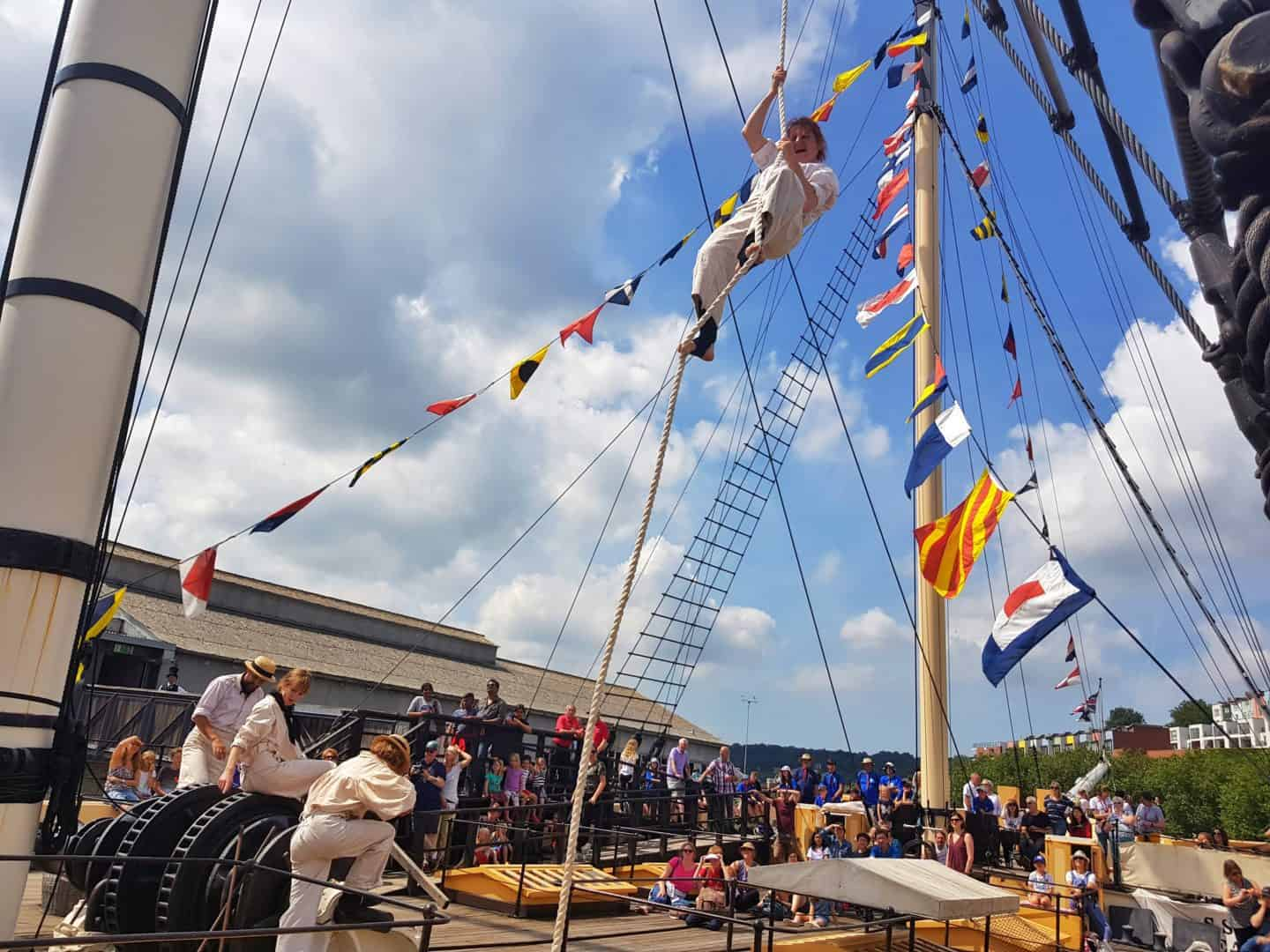 acrobatic display from invisible circus onboard SS Great Britain