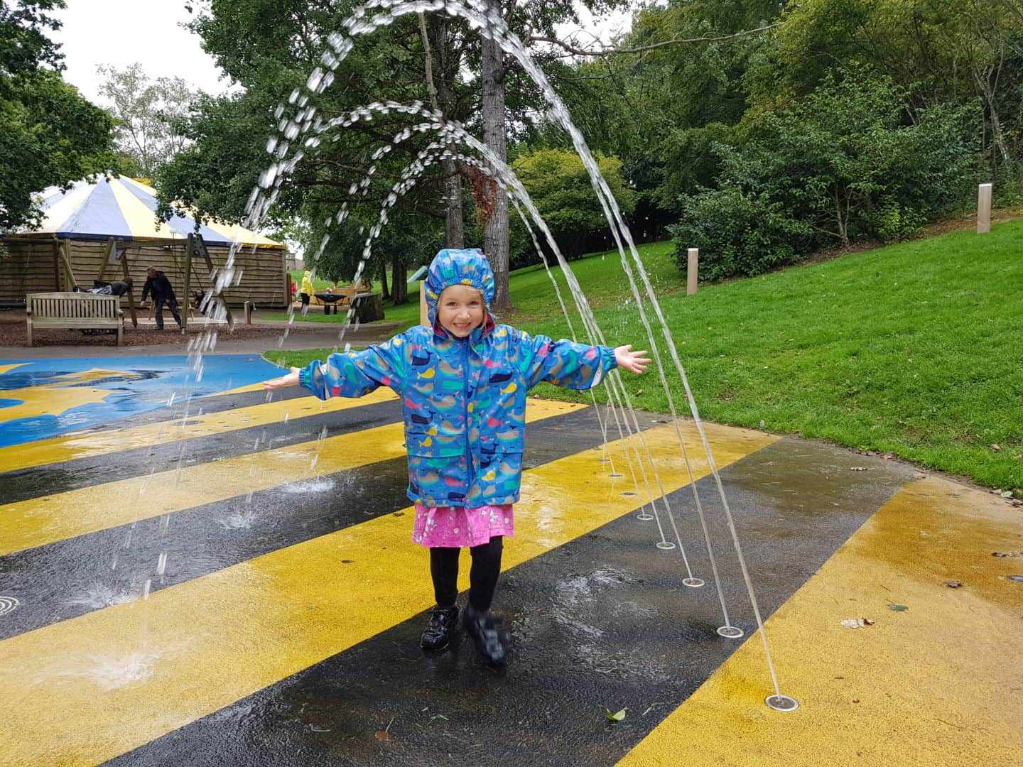 Girl in children's splash pad at Longleat Safari Park