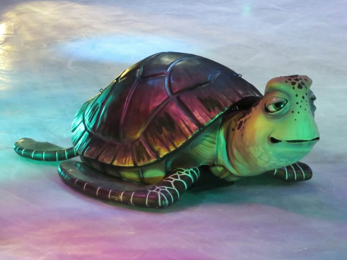 Huge turtle from Finding Dory on the ice in Disney On Ice celebrates 100 Years of Magic