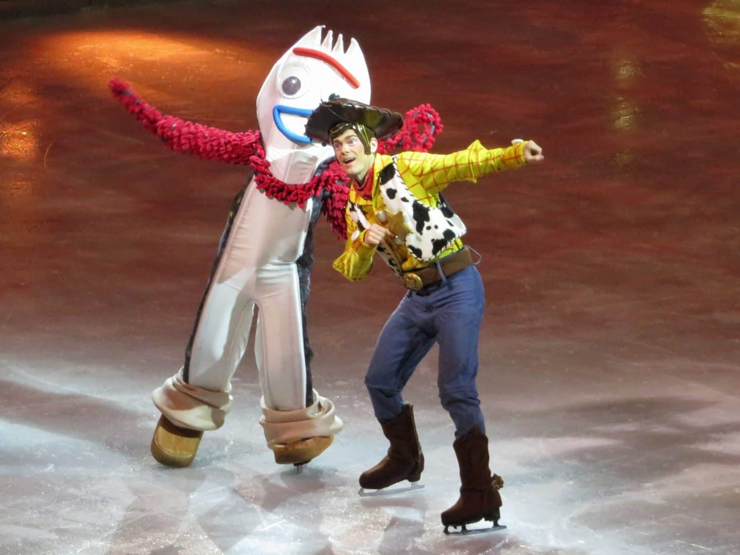 Toy Story characters Forky and Woody in Disney on Ice 100 year celebration