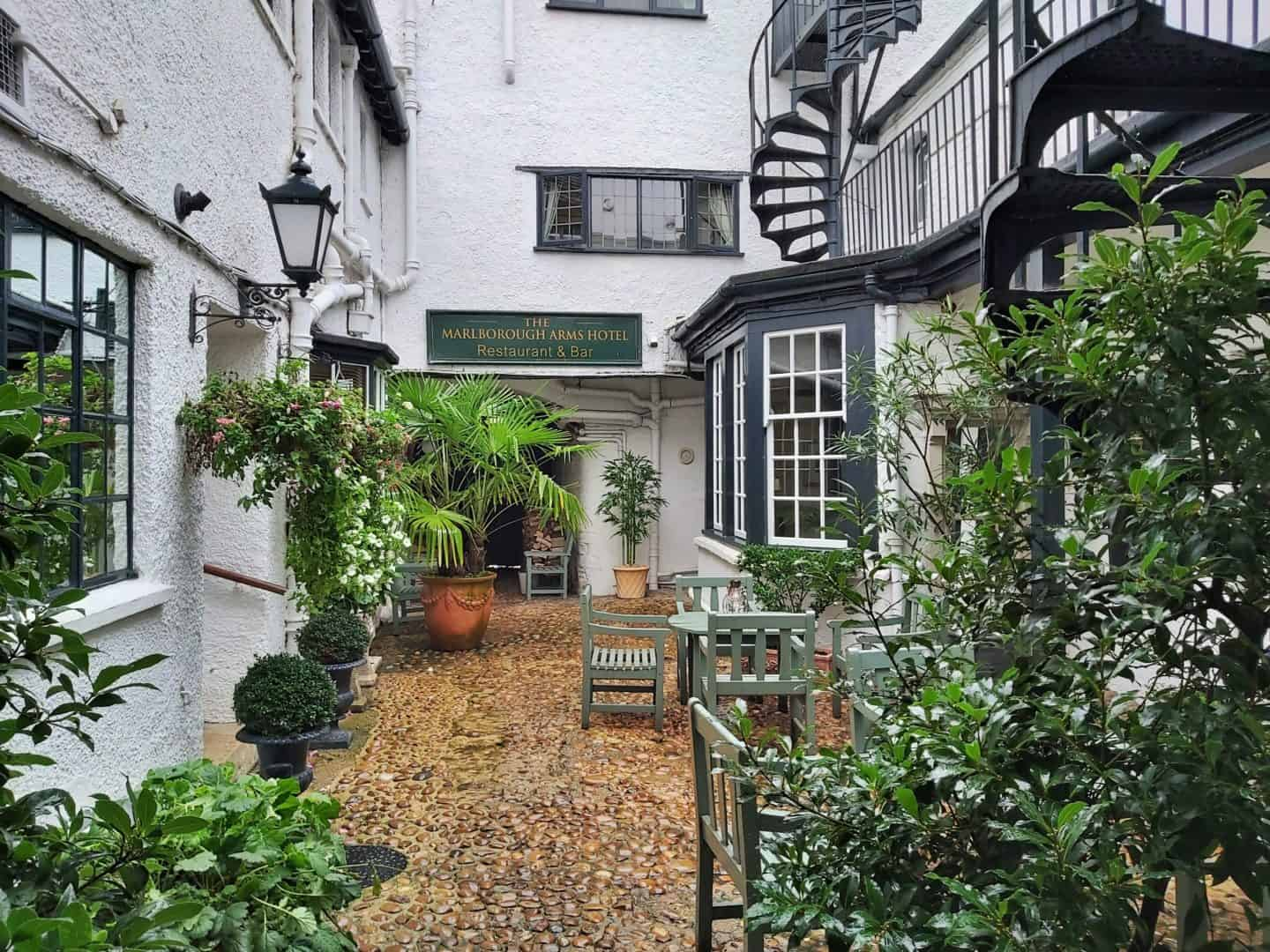 Courtyard of Marlborough Arms, Cotswolds UK