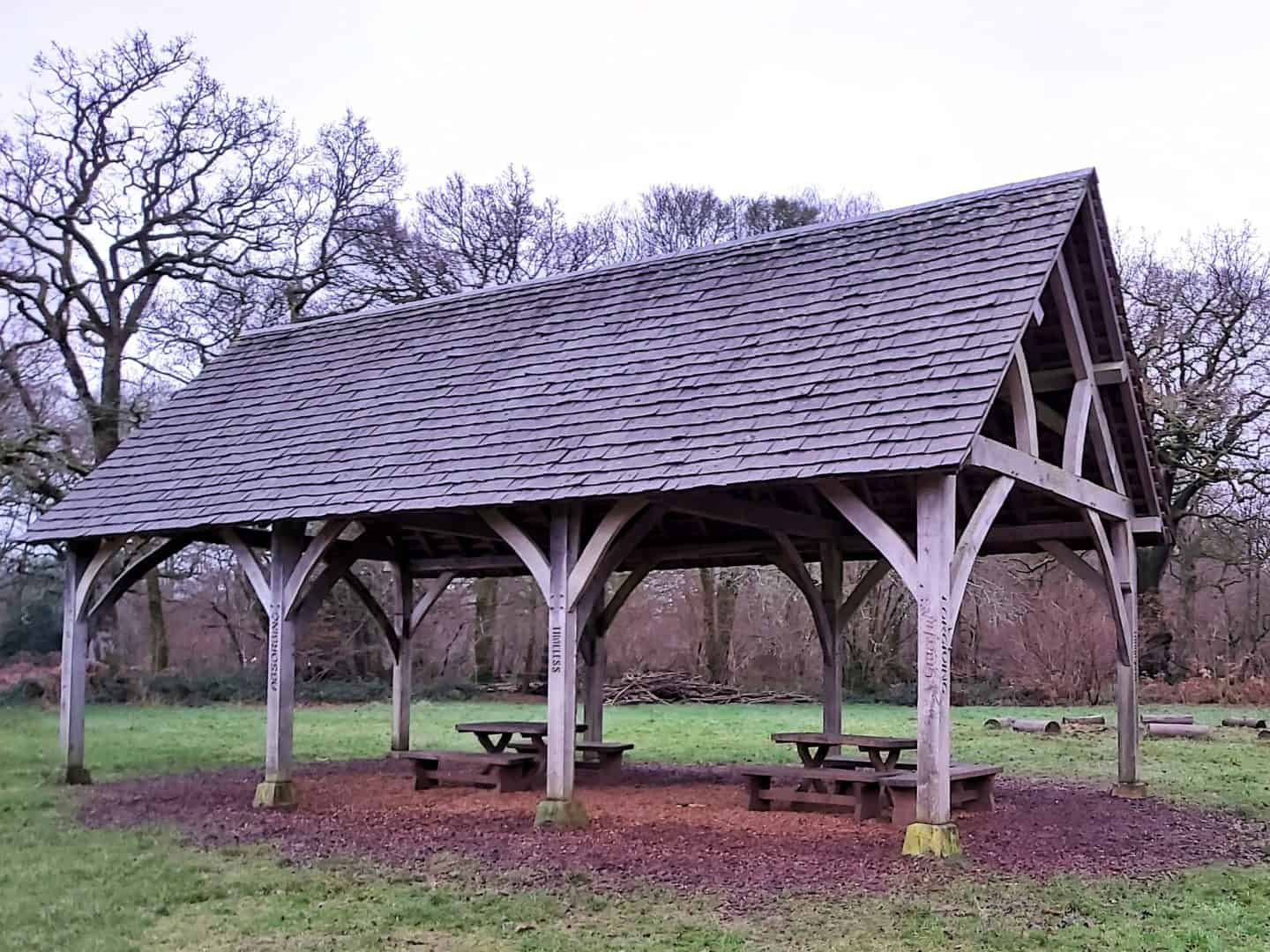 An open sided wooden building at Westonbirt Arboretum