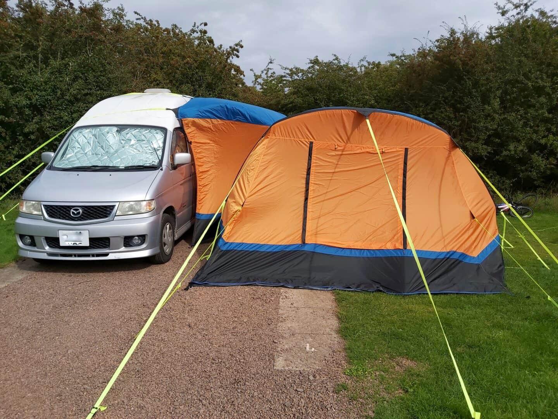 Olpro Cocoon Breeze drive away awning set up with Mazda Bongo van