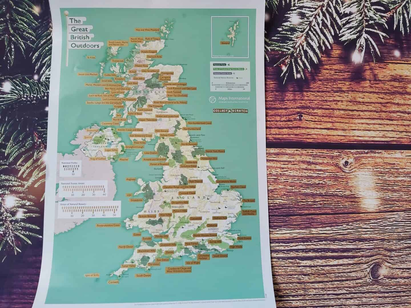 UK scratch map on festive background