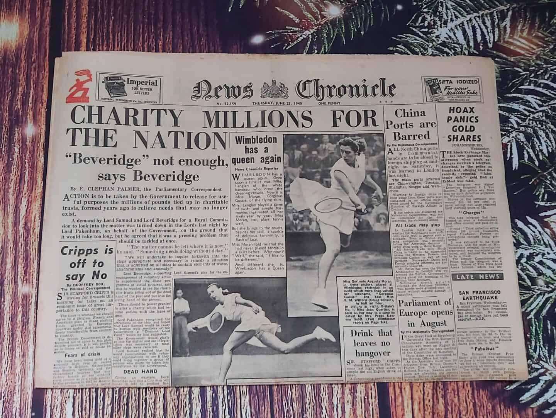Historic Newspaper on festive background